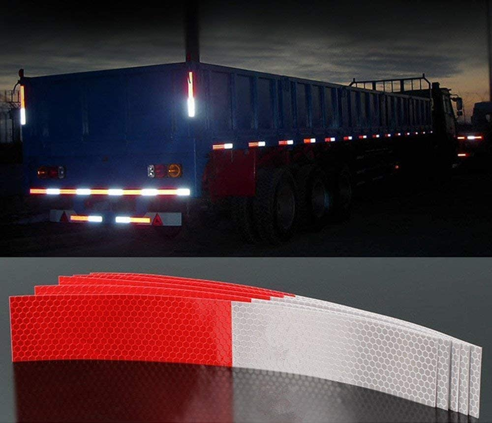 20Pcs Red White Micro Prismatic Sheeting 2 X 12 inches Waterproof Self-adhesive Reflective Tape
