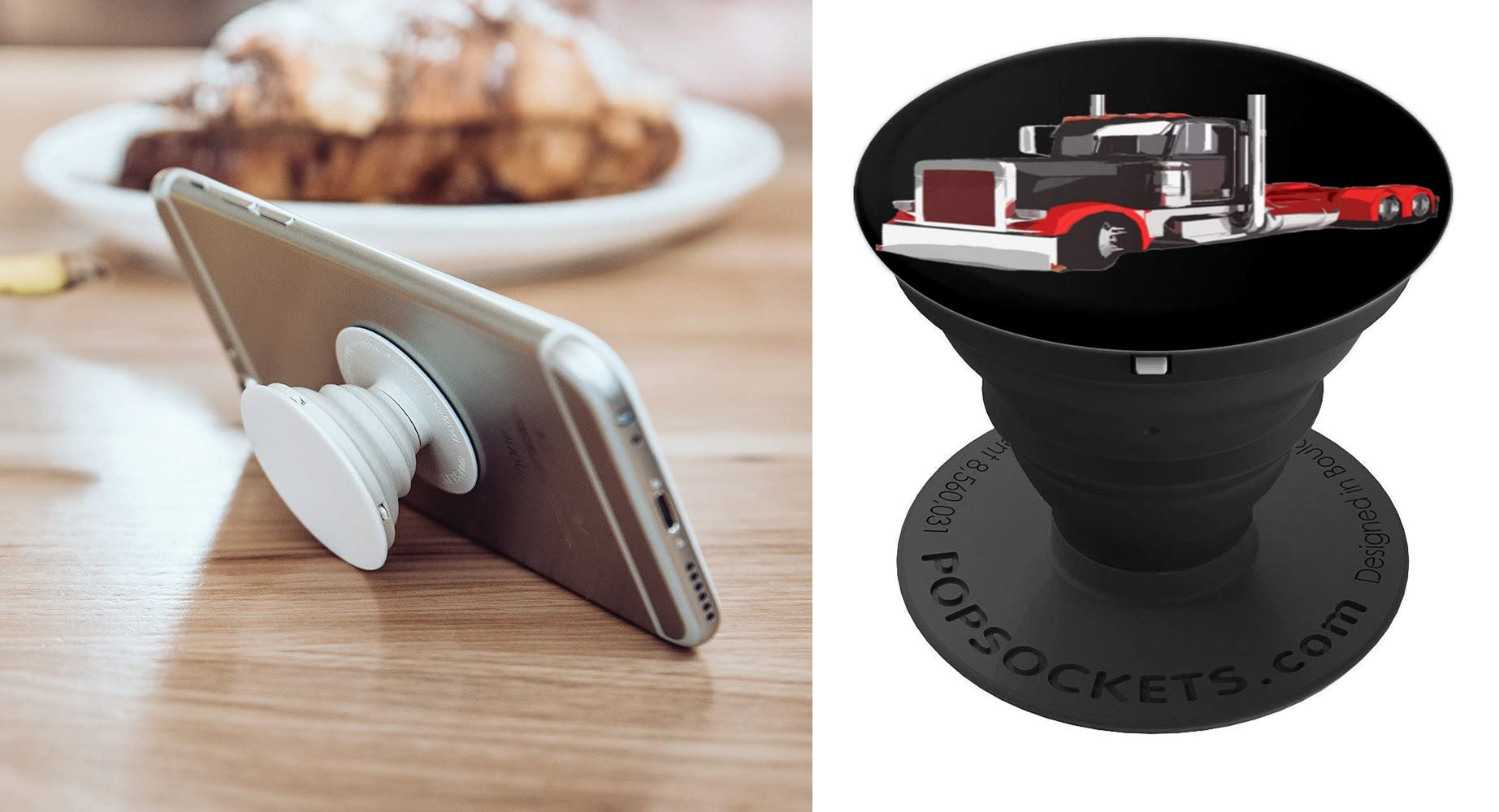 Trucker 18 Wheeler Semi Truck Love The Road Driver PopSocket Grip and Stand for Phones and Tablets