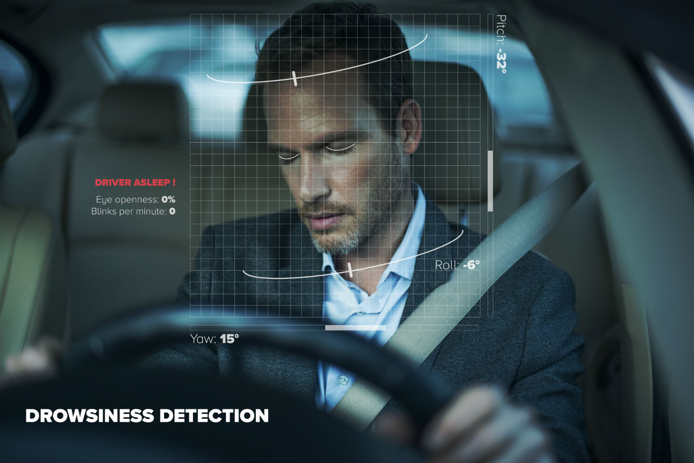 DMS - Driver Monitoring System detects sleep, sleepy driver, fatigue, driving safely